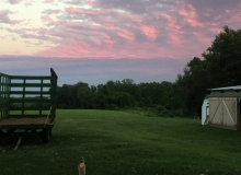 sunset with ginger and wagon